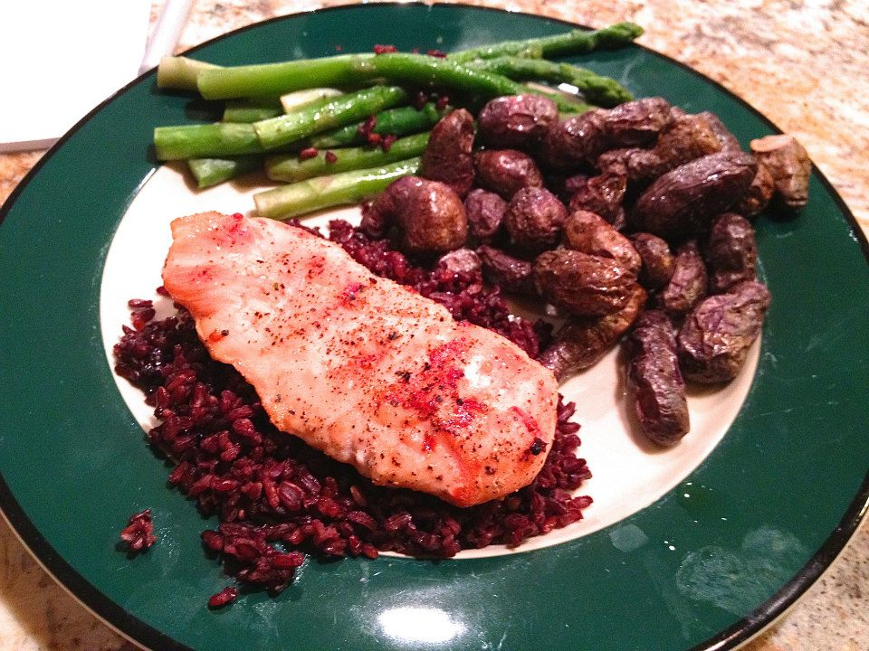 24 chicken on black red rice purple potatoes asparagus