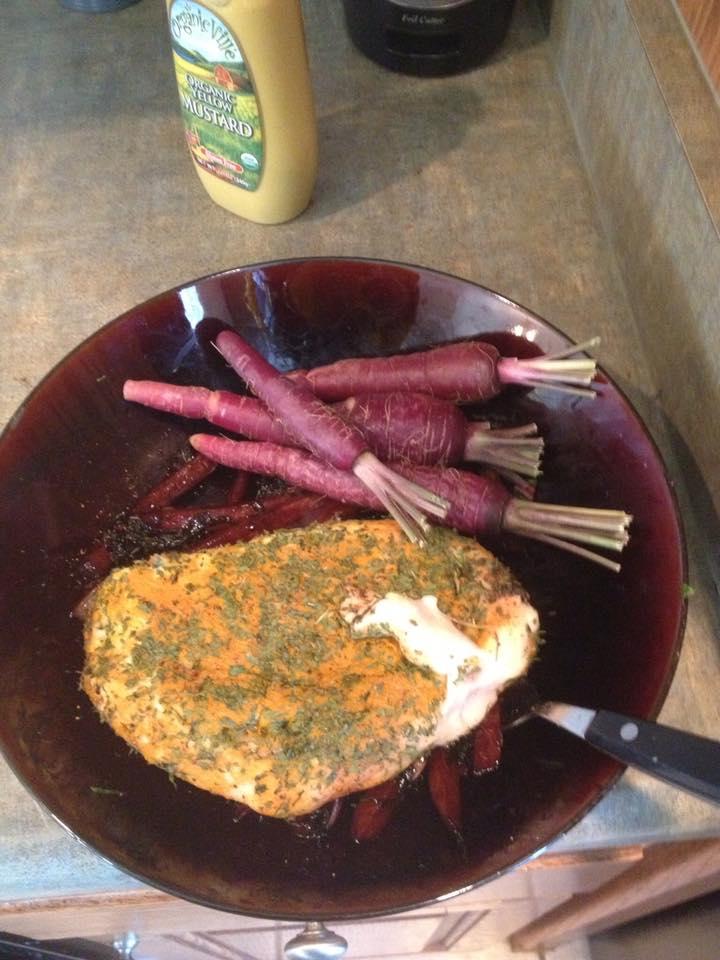 purple carrot side of chicken