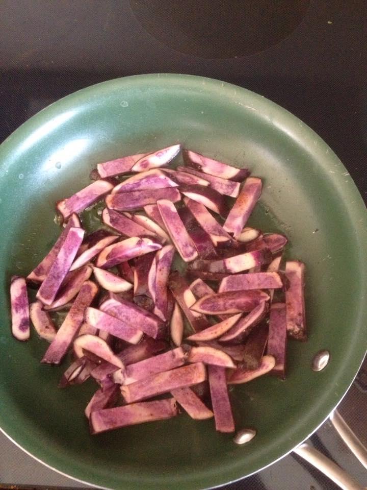 purple potato stir fry