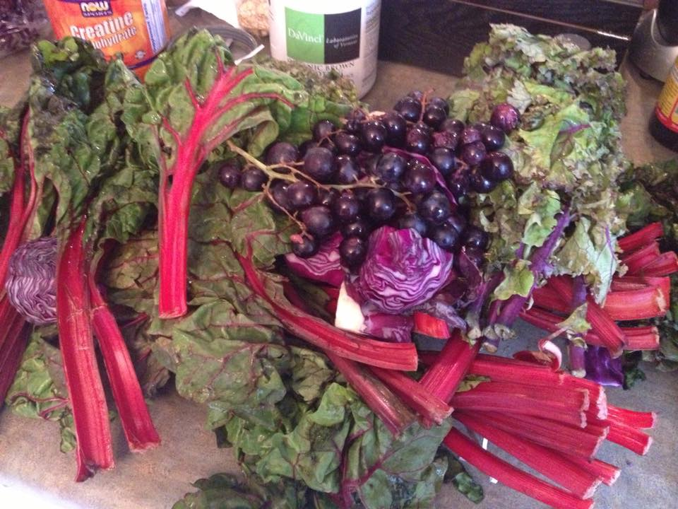 purple red leafy veggies and grapes